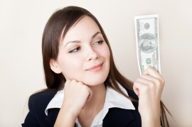 Girl with tax refund