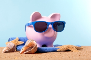 Piggy bank on beach